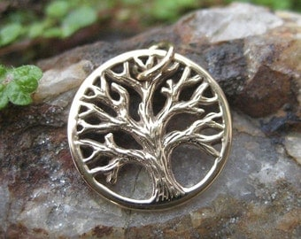 Tree of Life Charm Bronze - Small Gold Tone Tree Necklace