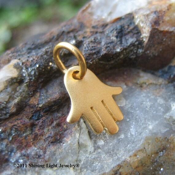 Gold Hamsa Necklace Charm - Tiny Hamsa