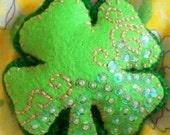 Shamrock Irish Magic Clover Plush RESERVE order for Carolmcelroy , hand Sewn, Lucky Clover Tiny Pillow