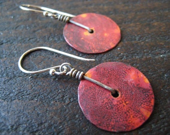 Tiiny Copper Disk Earrings