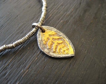 Gold and Silver Reversible Leaf Pendant