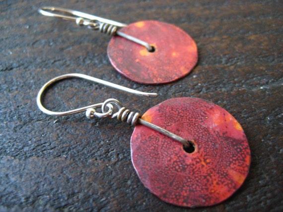 Tiiny Copper Disk Earrings