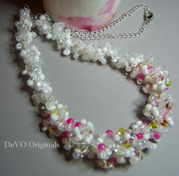 Summer White & Hot Pink Hand-Knitted Beaded Necklace