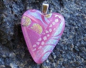 Kirks Glass Art Fused Dichroic Heart Pendant