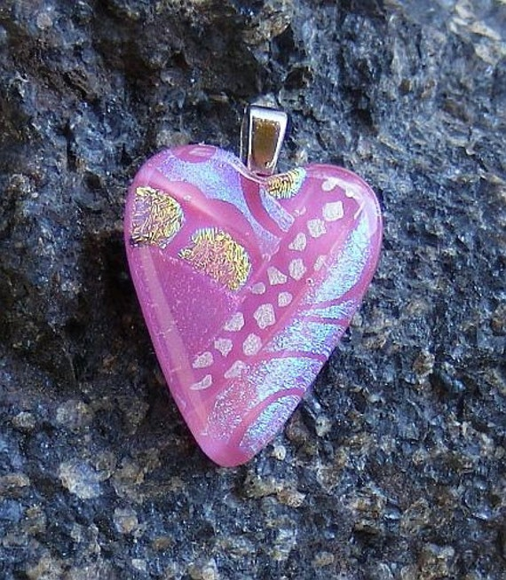 Kirks Glass Art Fused Dichroic Heart Pendant
