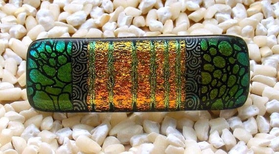 Kirk's Glass Art Fused Glass Dichroic Barrette in Shifting Gold, Brass, Green