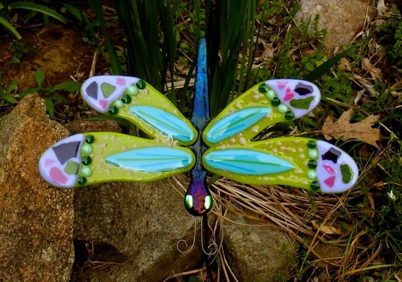 Kirks Glass Art Fused Stained Glass Dragonfly Garden Stake