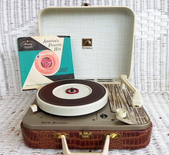RCA Victor Portable Record Player in Faux Croco Case