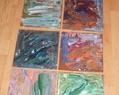 Original 8 Piece Acrylic Painting Melted Wax by Jodiann FREE Shipping in U.S.