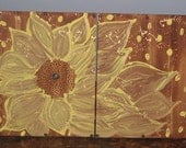2  Piece Sunflower Painting Enhanced with Flower Accents