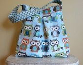 Large OWL Hobo Bag by PETUNIAS - diaper bag purse market tote laptop carry all gym sack gift baby shower nappy everyday ready to ship blue