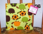 Reusable Snack Bag - pouch kids adults turtles green brown gold eco friendly by PETUNIAS