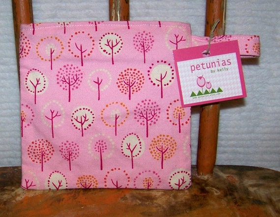 Reusable Little Snack Bag - pouch kids trees pink eco friendly by PETUNIAS