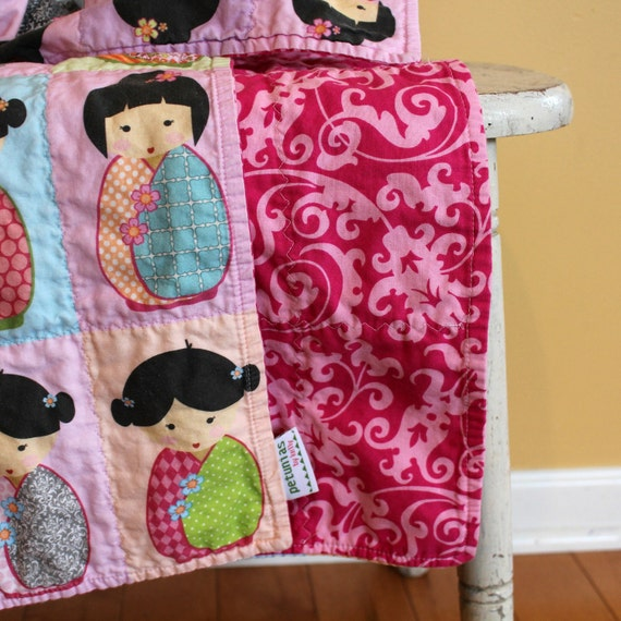 Kokeshi Doll QUILT by PETUNIAS - japanese doll cute pink black  room decor bedding baby blanket newborn shower gift photo prop
