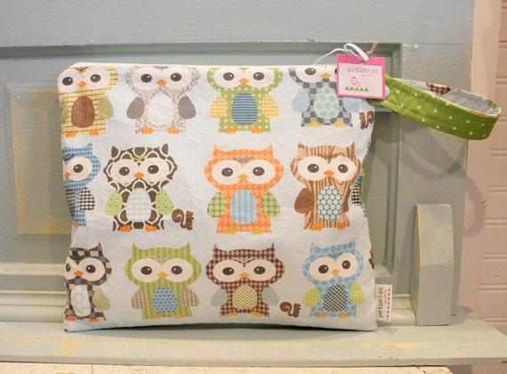 The Owl ICKY Bag - WETBAG - wet bag waterproof gym sports cloth diaper pouch zipper snap handle baby gift gear dog pet cosmetic
