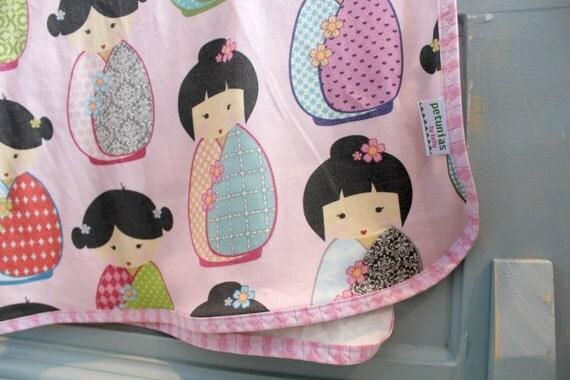 Kokeshi Doll - Organic Interlock Knit Blanket by PETUNIAS newborn baby gift photo prop cute japanese doll pink swaddle wrap nursing cover