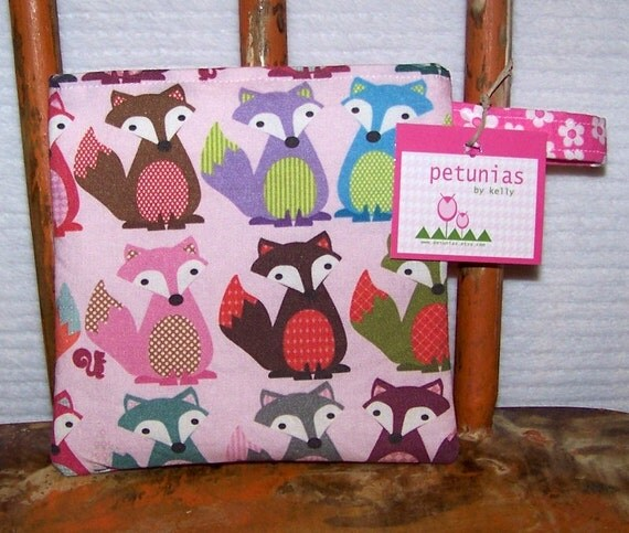 Reusable Little Snack Bag - pouch kids adult fox pink eco friendly by PETUNIAS