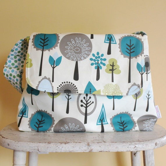 Tree Messenger Diaper Bag by PETUNIAS - hobo bag purse tote laptop carry all gym sack gift baby shower nappy everyday ready to ship modern