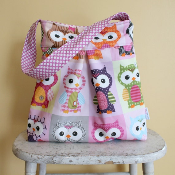 Owl Diaper Bag - large hobo purse by PETUNIAS newborn gift shower present tote market nappy sack pockets key fob