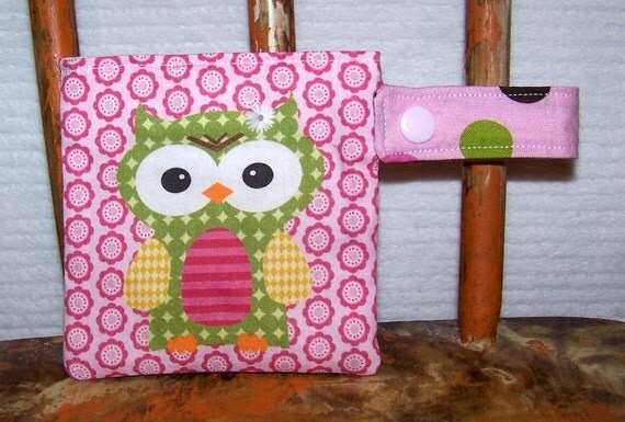 Pacifier Pod -  binky holder owl pink pouch snap by PETUNIAS