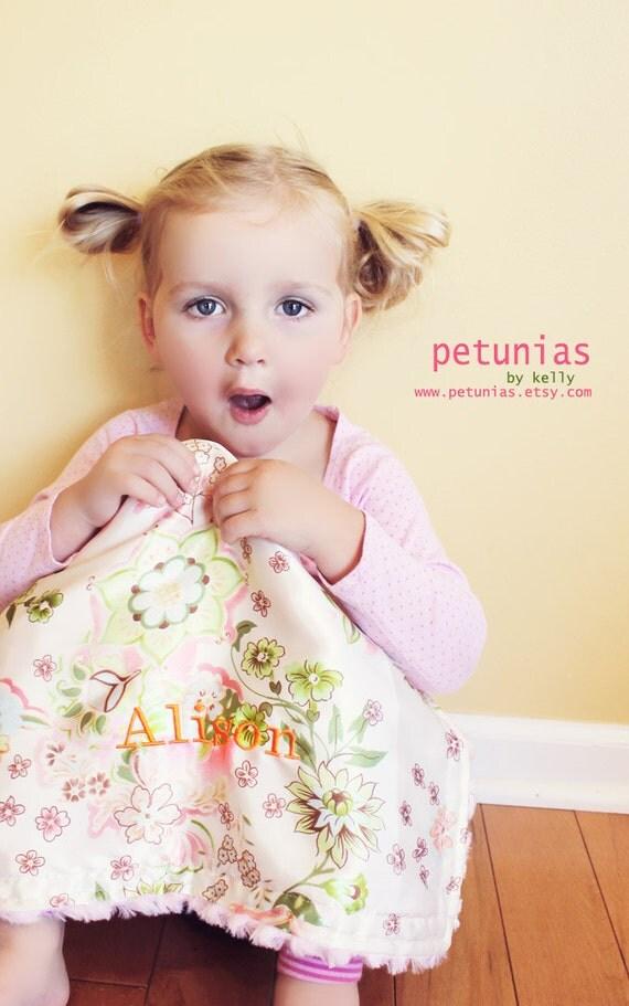 PETUNIAS' Little Fluffy Blanket - personalization - minky satin lovie lovey mini baby gift shower newborn photo prop furry soft toddler