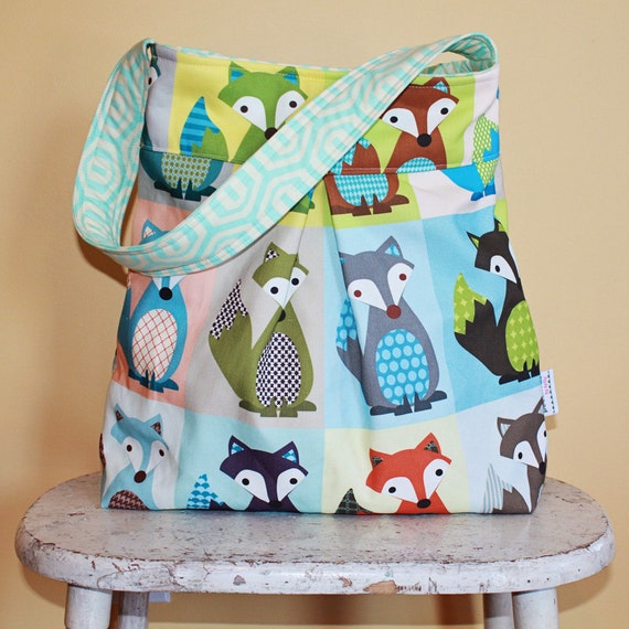Large Fox Diaper Bag by PETUNIAS - hobo bag purse market tote laptop carry all gym sack baby gift nappy everyday modern casual gray blue