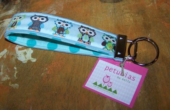 PETUNIAS' Key Fob - keyfob key chain owl blue purse accessories fabric gift wristlet
