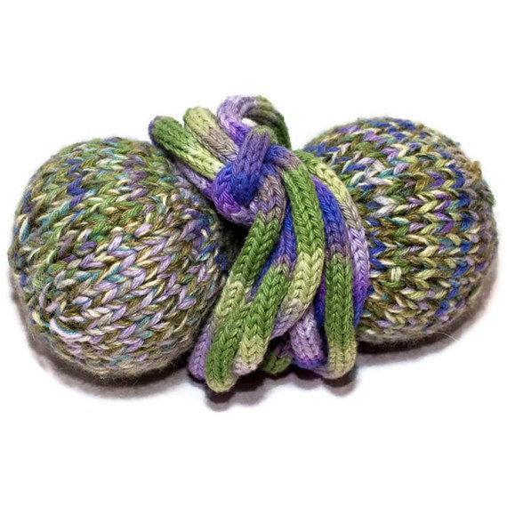 Catnip Cat Toy - Ball and String - Purple and Green with Bells and Shaker