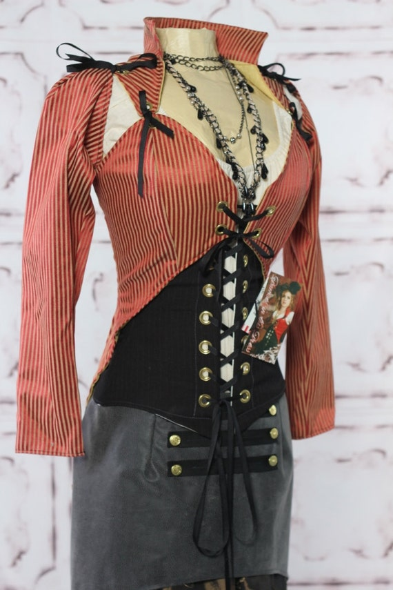 CLEARANCE-60 OFF-Bust 43-45 Red and Tan Mini Stripe Steampunk Jacket