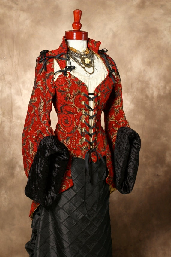 Waist 35-37 Red with Gold Vine Corseted Pirate Coat