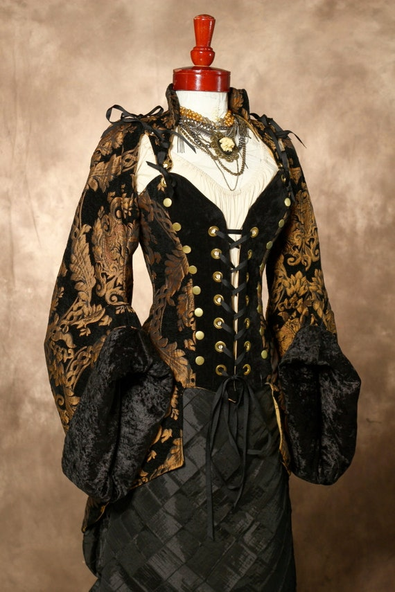 Reserved for Gretchen--B44W36 Black with Gold Medallion Buccaneer Coat with Sleeves