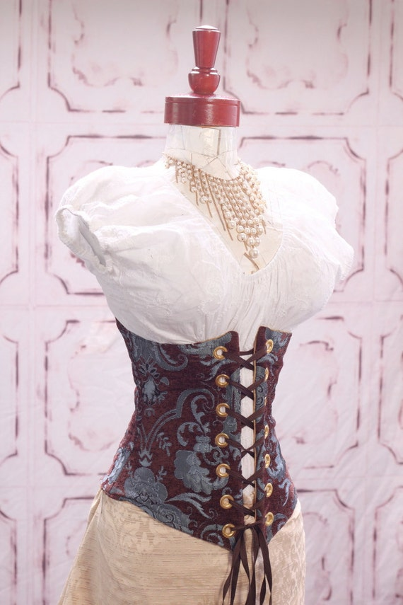 Waist 36-38 Brown with Blue Medallion Wench Corset