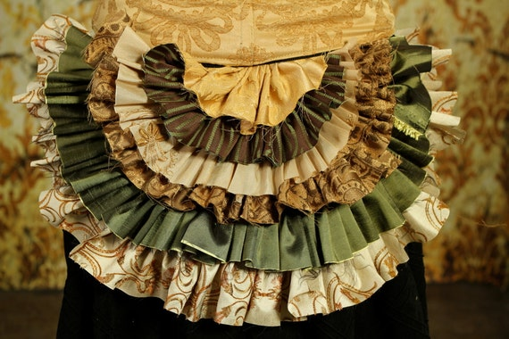 Tattered Bustle Ruffle in Soft Green and Cream