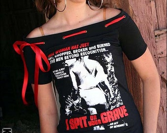I Spit On Your Grave Horror Movie Exploitation Off Shoulder Ribbon T Shirt Top Halloween Revenge Slasher Goth