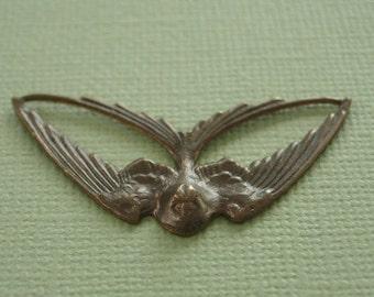 vintaj brass swooping swallow, natural brass swallow