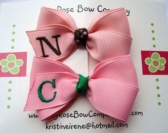 Customized Girls Monogrammed Hair Bow - Choose From Over 80 Colors of Ribbon