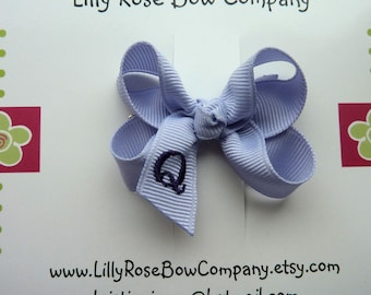 Violet/Small- Custom Monogrammed Boutique Hair Bow For Infant/ Toddler- Choose From Over 80 Colors of Ribbon
