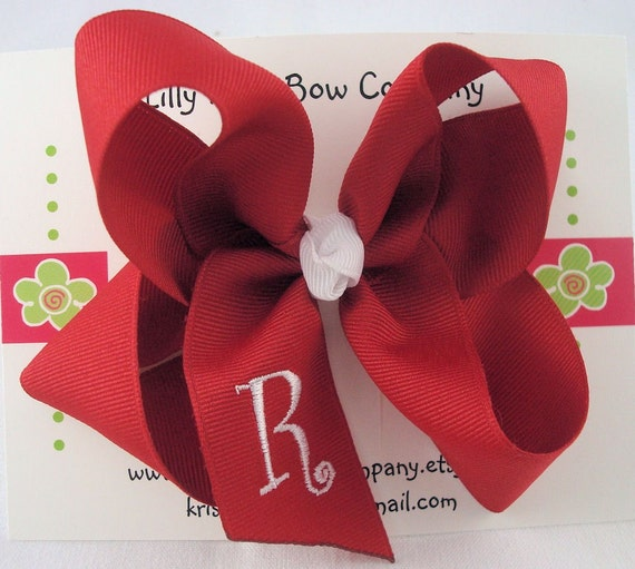 Customized Girls Monogrammed Hair Bow - Lilly/Lrg W/ Curlz Font