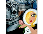 Gothic GIRL and DOG visiting EDGAR ALLAN POE Print
