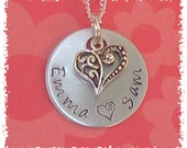 Hand Stamped Personalized Name Tag Necklace with a Silver Heart Charm