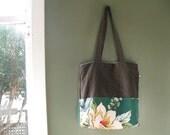 recycled tote bag - green barkcloth