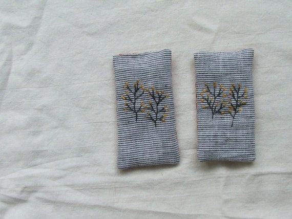 linen lavender sachets - set of two with embroidered branches