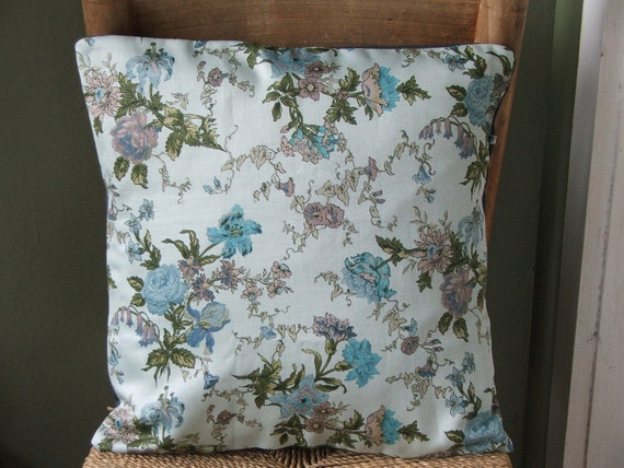 wildflower pillow cover- blue botanical