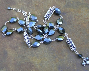 Handmade Wire Wrapped Hematite Bali Silver Necklace