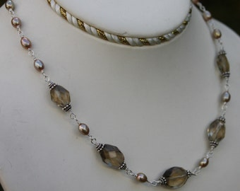 Handcrafted Gemstone Necklace Smoky Quartz and Golden Freshwater Pearls Sterling Silver