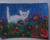Cat ACEO - White Cat in Poppy Field - Hand Embellished - postage included within the US