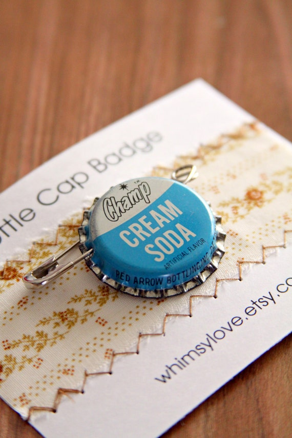 Vintage Cream Soda Bottle Cap Badge