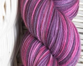E K B fingering weight pink and purple mix Superwash merino blend sock shawl yarn Bare Sheep Yarn
