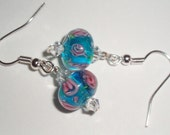 Sweet Rosy Turquoise Lampwork-Free Shipping