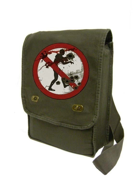 no zombies (khaki green) Messenger Bag / Laptop Bag